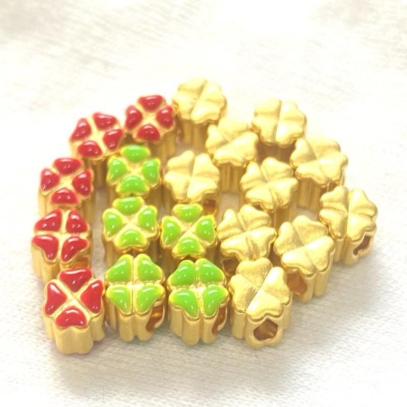 9999純金 黃金四葉草 黃金幸運草 約0.02-0.03錢 金色 綠色 紅色 純金紅線手鍊 DIY 黃金手鍊 金喜飛來