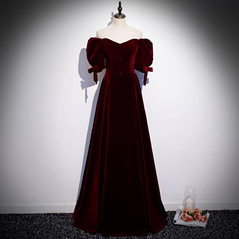 【免運】敬酒服新娘2021新款春夏季紅色絲絨氣質一字肩長款結婚晚禮服裙女 氣質絲絨 優雅公主 性感一字肩