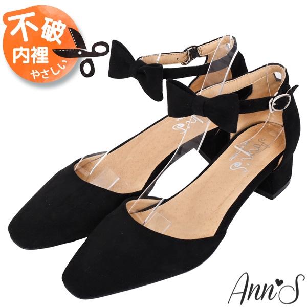 Ann'S甜美女孩-蝴蝶結可拆多WAY粗跟方頭跟鞋3.5cm-黑