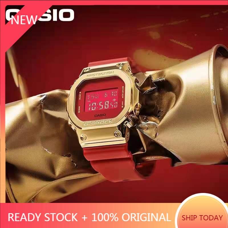 Gm5600 紅色 Gm-S5600 方形時尚手錶防水手錶自動燈 + 世界時間