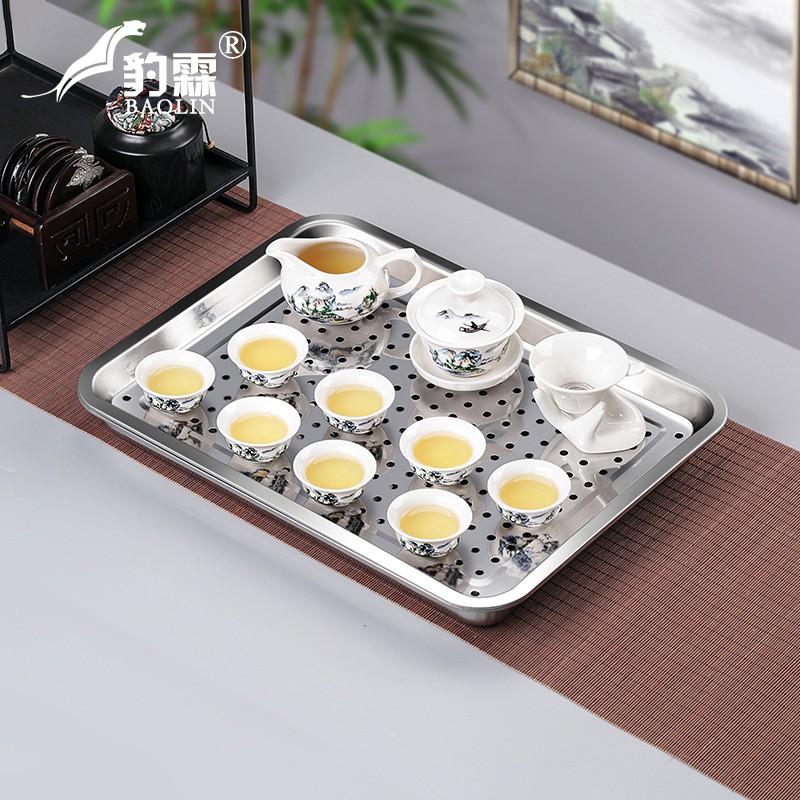 304加厚不銹鋼茶盤?長方形帶排水雙層排水式功夫茶具茶臺茶托盤小