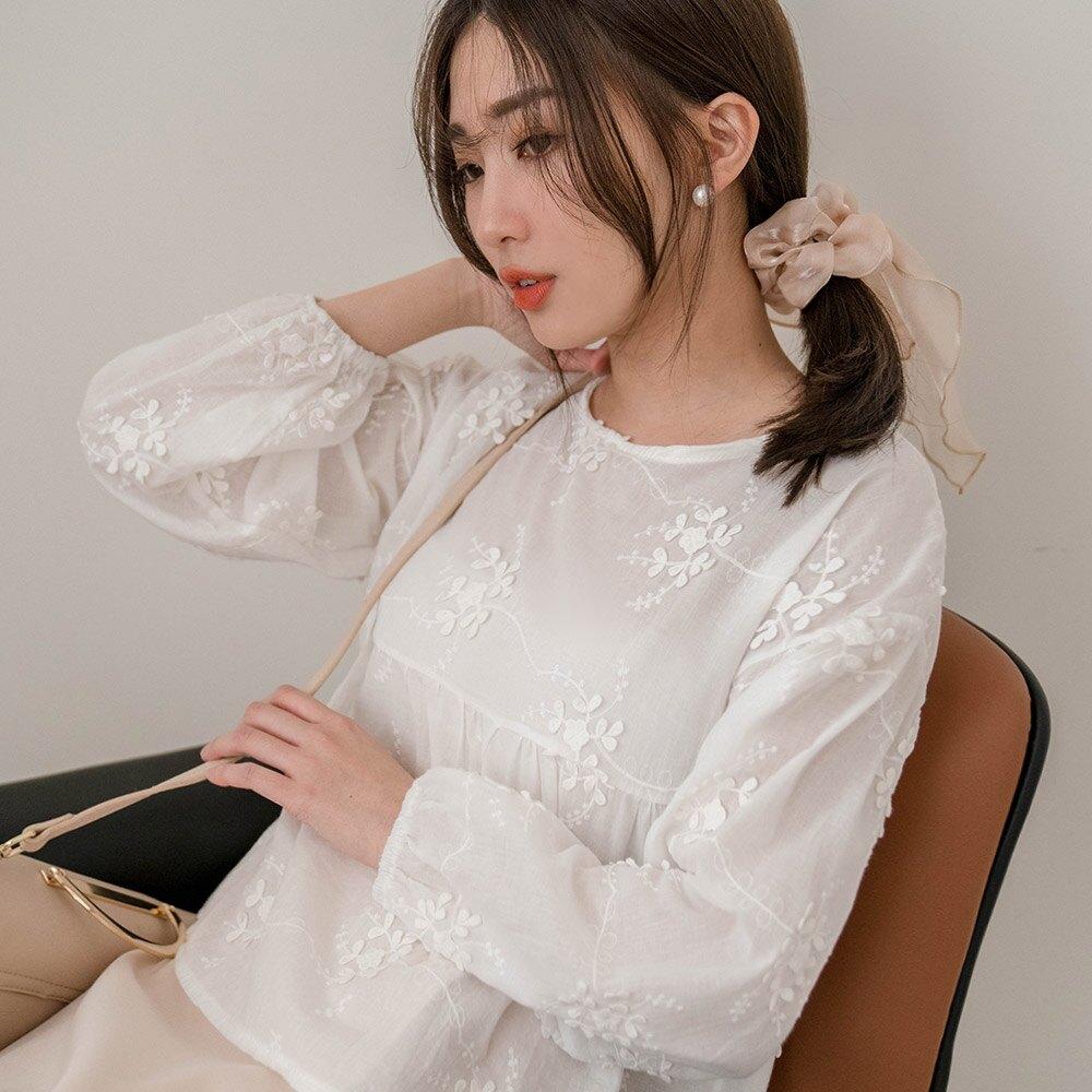 MIUSTAR 立體葉片刺繡傘襬棉麻上衣(共1色)長袖t恤 0309 預購【NJ0069】