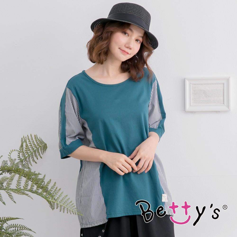 betty's貝蒂思 圓領短袖拼接條紋T-shirt (藍綠色)
