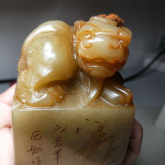 壽山石鹿目田黃凍瑞獸印款印章