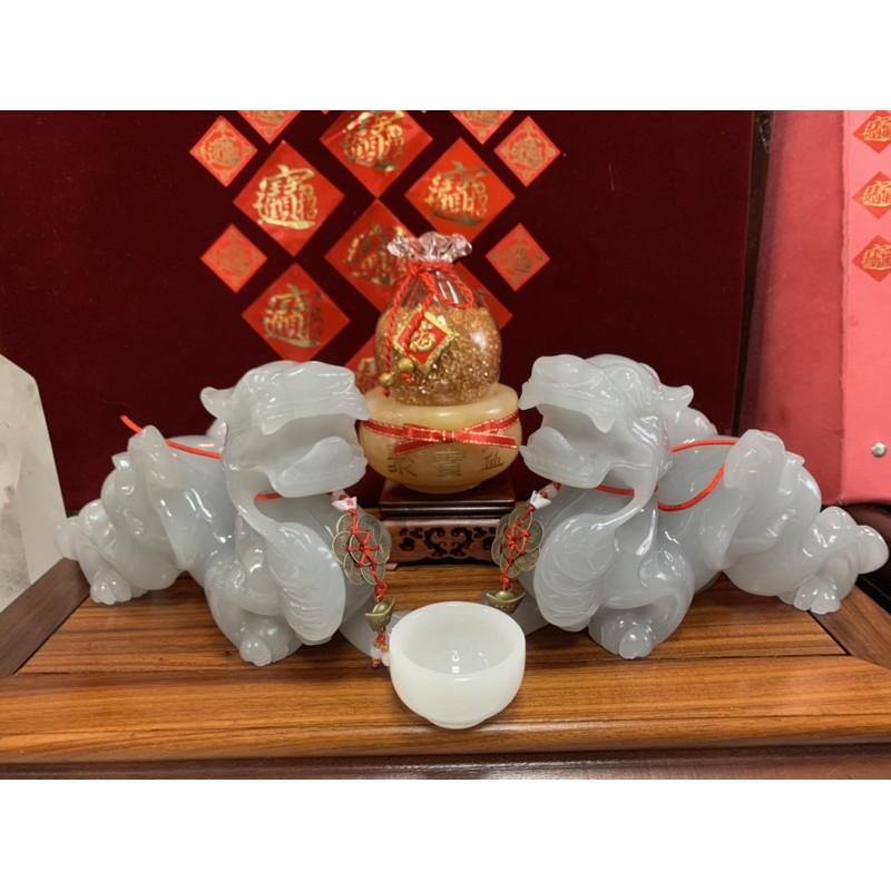 夢幻藍冰玉貔貅現貨1🙏老師開光招財錢幣藍冰玉貔貅套組.下標贈金箔福袋聚寶盆🙏