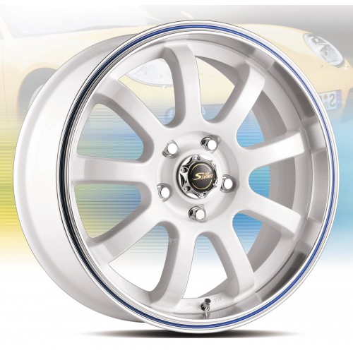 【FK鋁圈】17吋 5/108 P1321 白色車邊外滾藍
