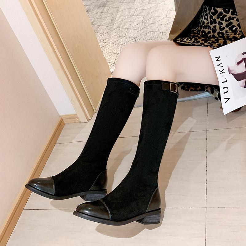 【韓版中筒高筒靴子】騎士靴女粗跟2020年新款百搭秋冬季高筒靴長筒靴不過膝瘦瘦靴子