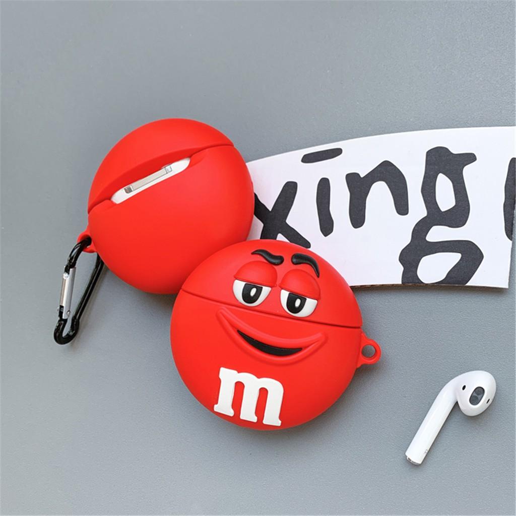 ❤情侶矽膠AirPods保護套 ins卡通水貼套 防丟鑰匙圈 M豆蘋果耳機套 防塵塞潮流掛飾 卡通巧克力豆耳機收納盒
