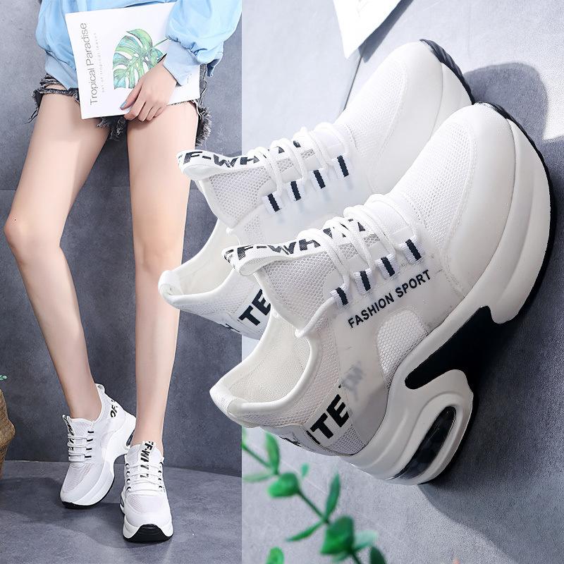 内增高女鞋2020新款韩版夏季镂空鞋网面透气厚底休闲运动旅游