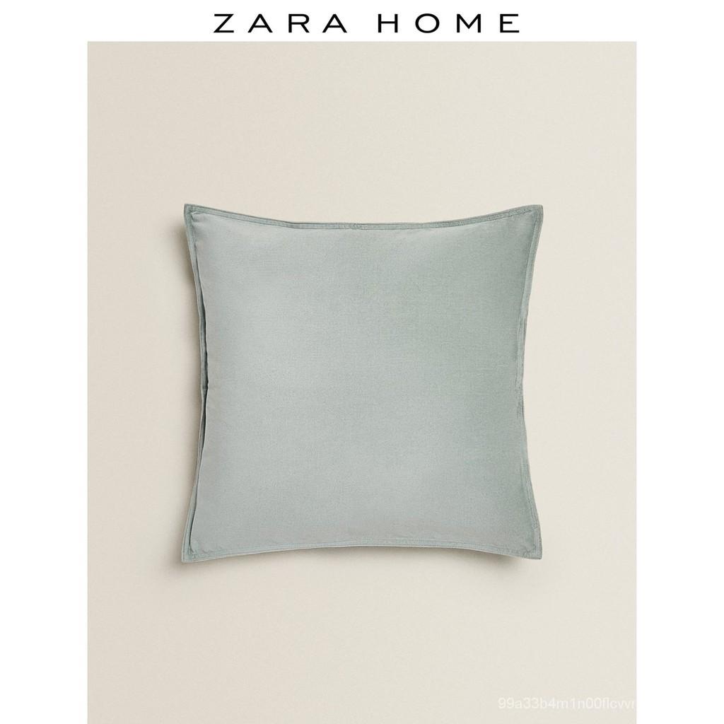 【新品 抱枕靠墊】Zara Home 灰綠色歐式簡約天鵝絨靠墊套抱枕套 43105008916