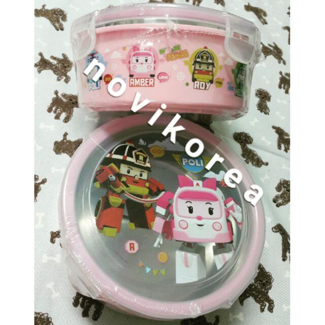 韓國poli波力圓形兒童餐具餐盒(粉色)