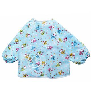 兒童罩衣 寶寶長袖防水反穿衣 防水公主裙畫畫衣吃飯衣 嬰兒衣服 大號 可愛小熊印花罩衣 防水防賍