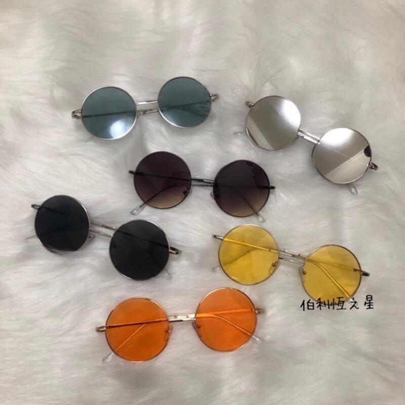 【B164】漸層圓框 抗UV400 蔡徐坤同款墨鏡 太陽眼鏡 偶像練習生同款 網紅 明星 黃色圓框 金屬