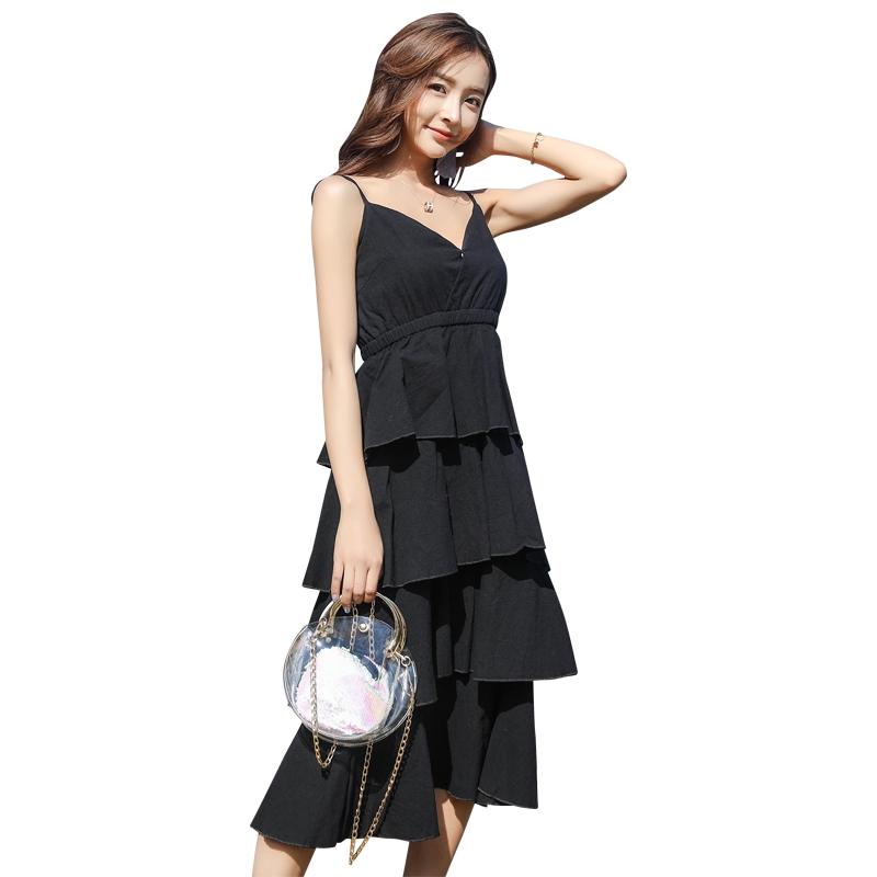 韓版吊帶裙小黑裙夏復古收腰V領性感chic長裙仙女露背蛋糕裙