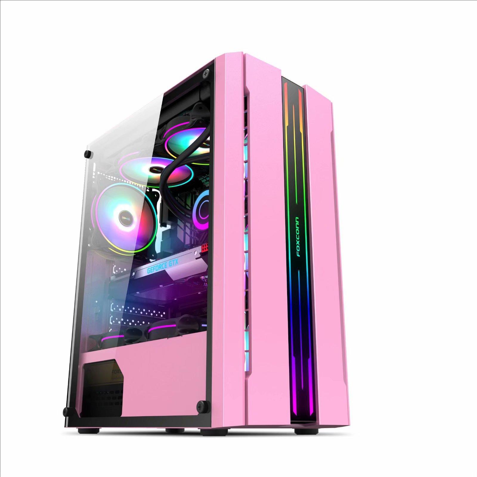 燈條粉色臺式電腦主機殼三體 240水冷下置電源倉背走線