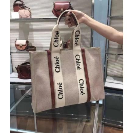 全新正品 Chloe Medium Woody tote 購物包 Chloe tote bag帆布托特包 2021新款