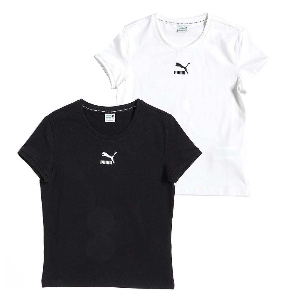 PUMA 流行系列 Classics 貼身短袖T恤 短T 短袖上衣 59957702白色/59957701黑色 歐規