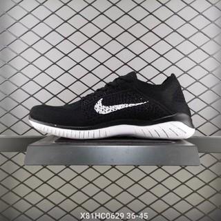 Nike Free RN Flyknit 赤足 5.0 編織 黑白 慢跑情侶鞋831069-001