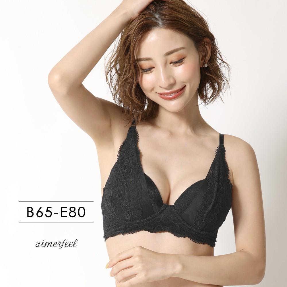 輕透薄紗aimerfeel輕鬆舒適內衣極全罩杯單品內衣-黑色-710513-BL