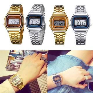 現貨【買2送1】超薄LED電子錶優雅男士女士復古不銹鋼液晶數字運動碼錶腕錶 卡西歐小方表 夜光運動手錶