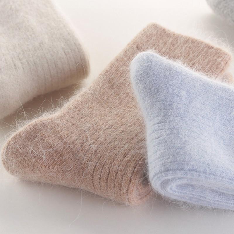 毛襪☞新款☜羊 毛襪 子女秋冬季中筒襪加絨加厚保暖兔 毛襪 冬天女士黑色羊絨 長襪