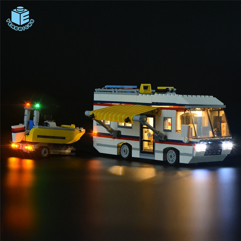 Maomao8911-Yeabricks兼容樂高31052露營車積木LED燈具燈飾城diy發光配件燈**