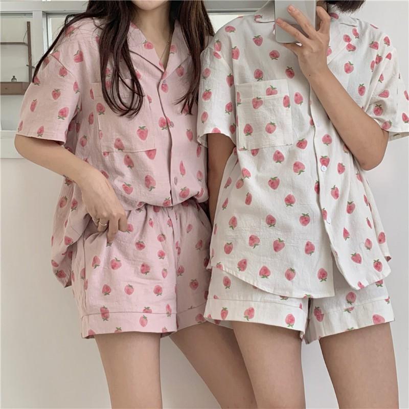 小可愛夏日必備甜美可愛短袖短褲流行睡衣居家服兩件套 閨蜜姐妹裝 草莓睡衣套裝 簡約睡衣 流行睡衣套裝
