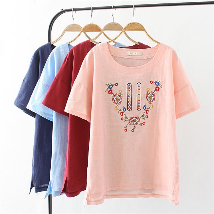 夏款 大尺碼 圓領素雅繡花草草花花短袖T恤-L19032820-☂ 糖糖 ☂