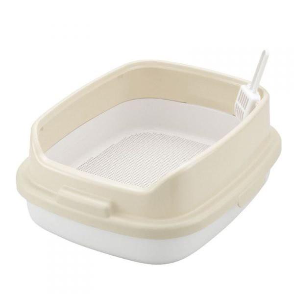 Richell 卡羅方型高邊防撥砂 雙層貓便盆 双層貓砂盆 貓沙盆 貓廁所 ID56043(米色)每件960元