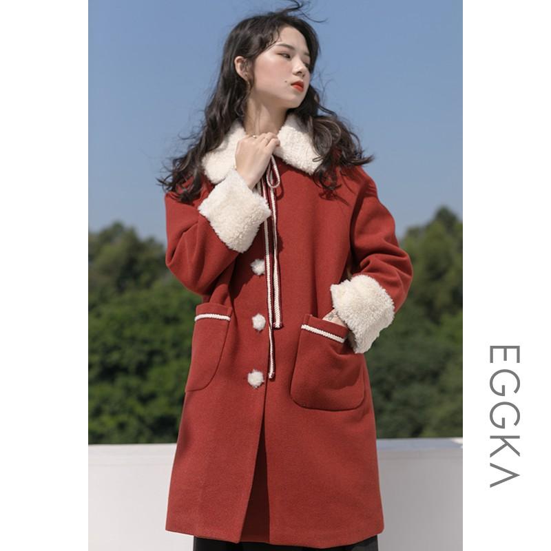 現貨 新年羊羔絨呢子大衣女冬季紅色毛呢外套小個子中長款2020年新款