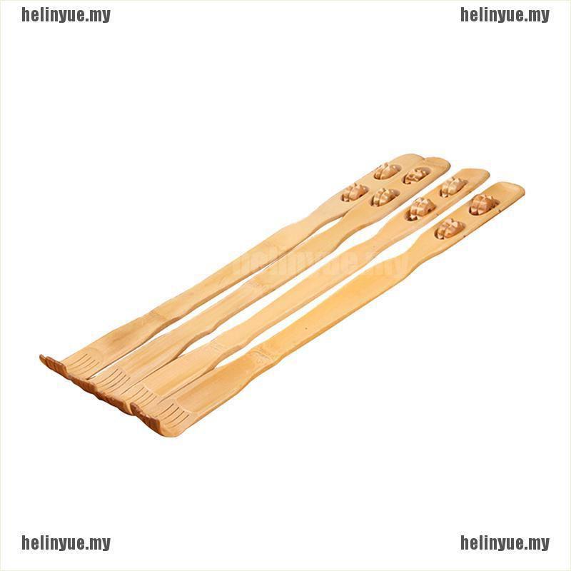 (HLY + stock)18英寸方便竹製按摩器背部抓癢器木製身體棒滾輪瘙癢
