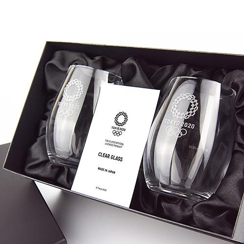 東京奧運紀念杯 透明玻璃 2入黑色禮盒 日本製造 東奧 紀念品週邊官方商品 現貨商品