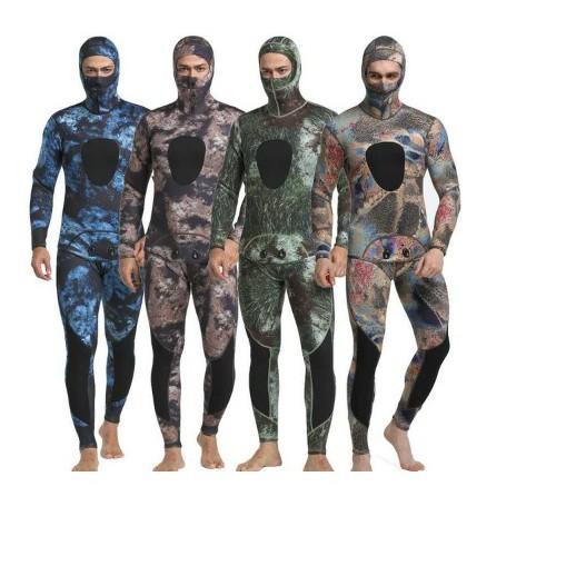 自由潛水漁獵打漁魚浮潛濕式兩件式迷彩防寒衣潛水衣潛水服拍3mm 5mm迷彩自由潛水防寒衣