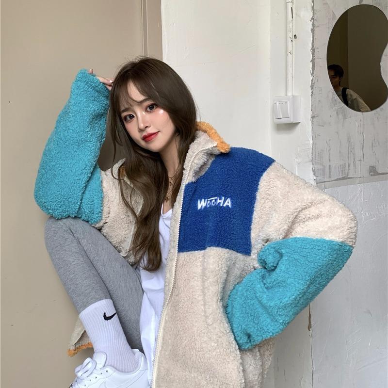 【Camille TC】【A3423】時尚拼色寬松羊羔毛外套韓版設計感加厚棉服