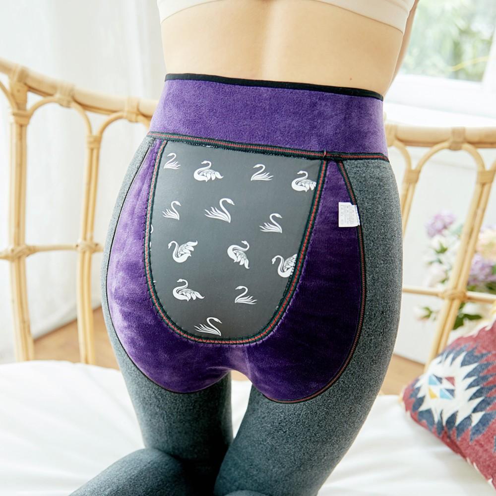導電女褲秋冬季新款 仿羊絨高腰量子羽絨褲刷毛加厚養生一件式褲內搭褲女