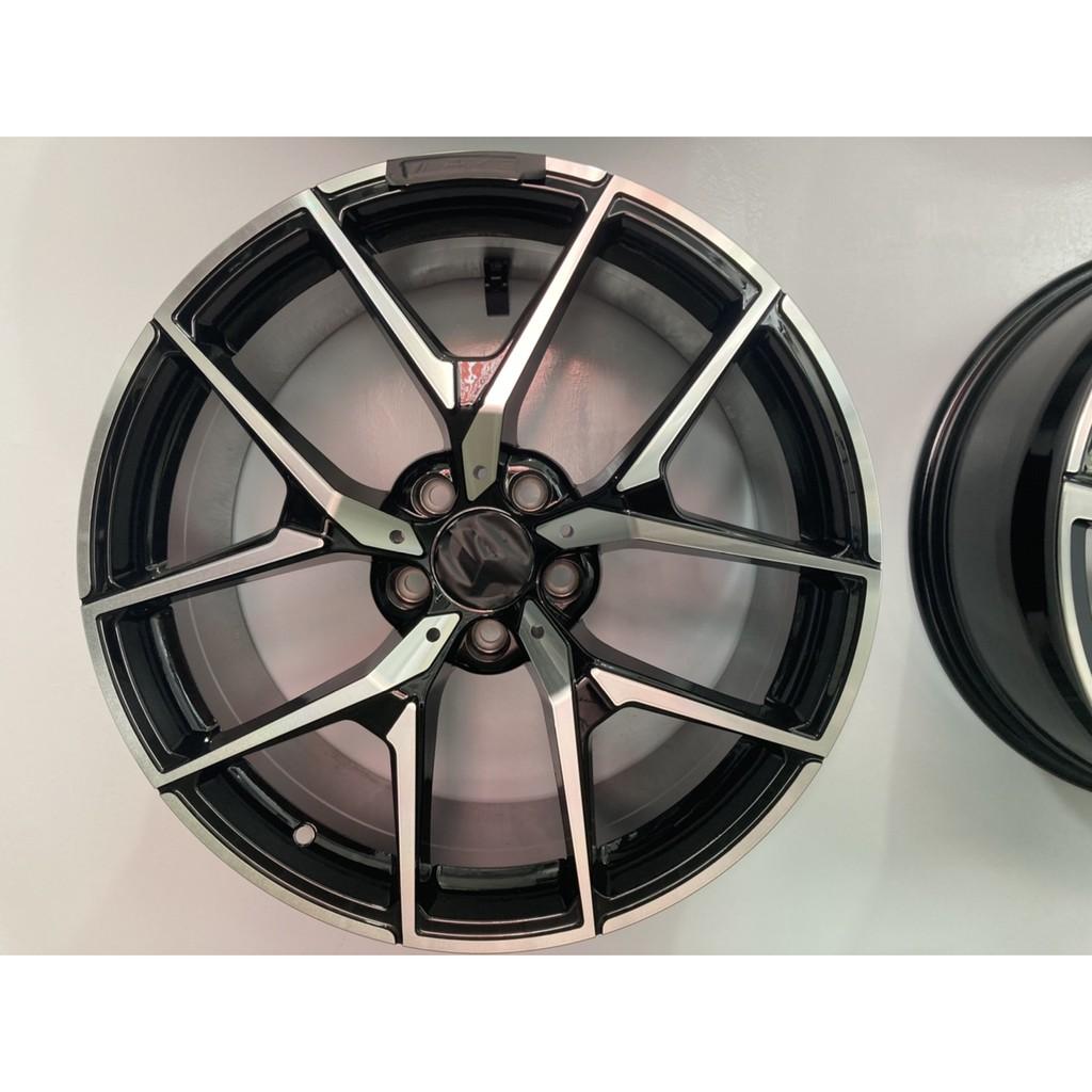 【頂尖】全新類賓士AMG137 19吋鋁圈 5X112 9.5/8.5J ET45前後配 五爪開Y岔亮黑銀車面