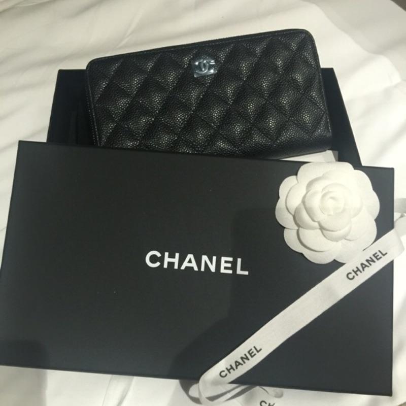 不議價 全新Chanel 香奈兒 荔枝皮 拉鍊長夾 義大利帶回