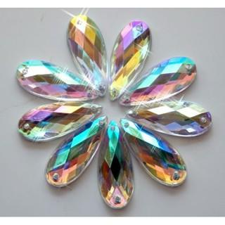 50片8x21mm透明AB縫在亞克力水晶Diamante水鑽長滴上