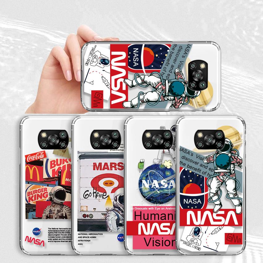對於小米 Poco X3 Nfc Creative Nasa America 太空國家宇航員透明矽膠軟殼 Hp Slim