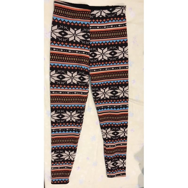 超保暖雪花圖案 內刷毛羊絨內搭褲打底褲 建議XL以內穿
