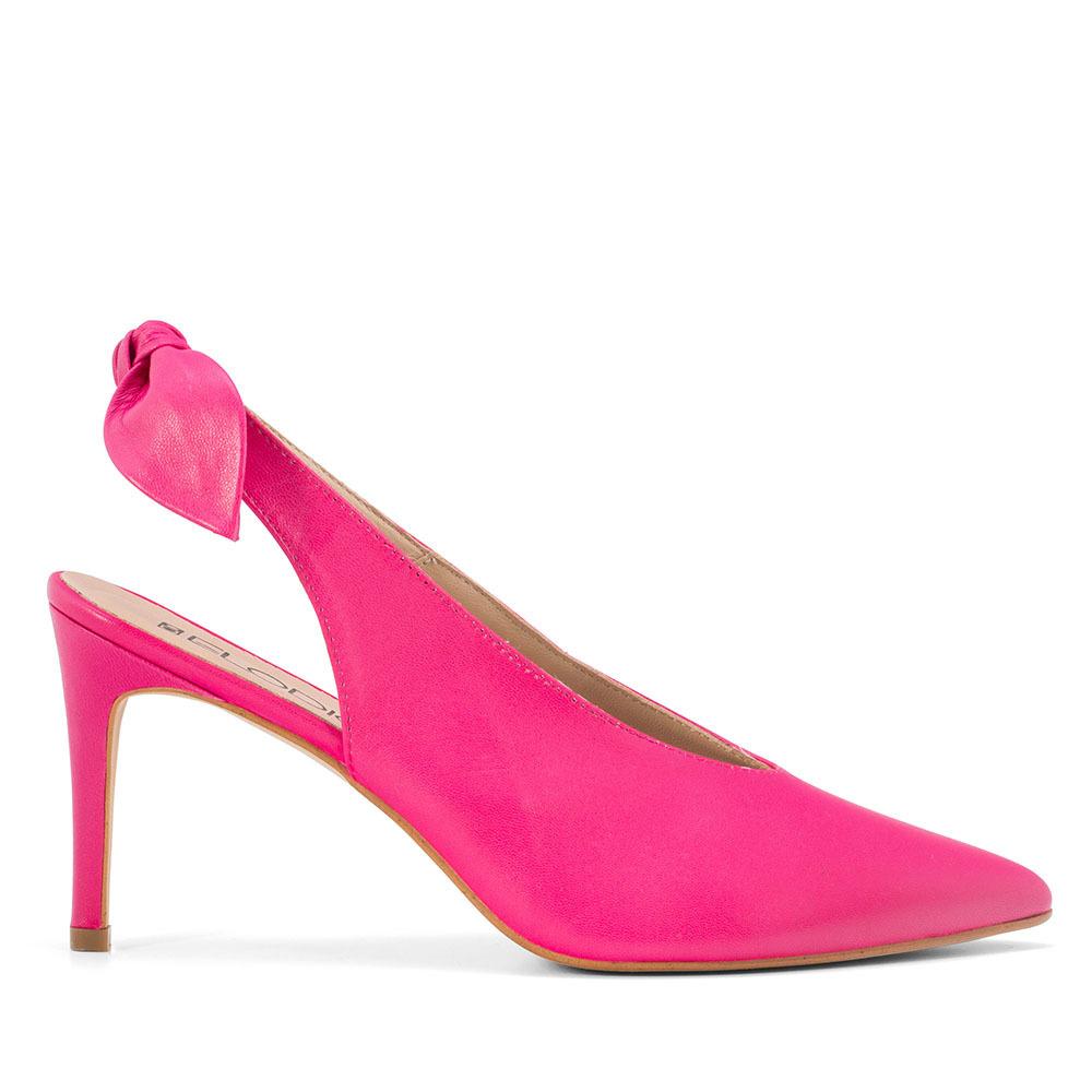 ELODIE 真皮蝴蝶結繫帶高跟鞋-桃紅