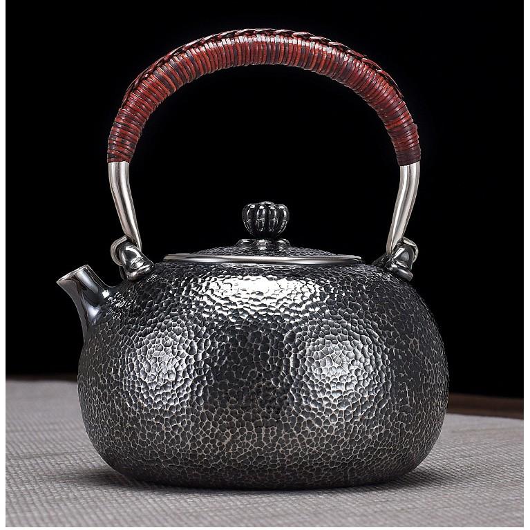 【高級純手工臻品一張打 日式錘紋作舊 燒水壺】足銀純銀999 茶壺 茶具 皇家典藏