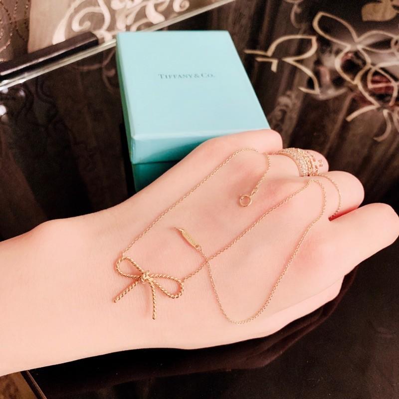 日本購入 專櫃真品TIFFANY&CO. 750 黃K金 18K 蝴蝶結麻花打結 項鍊 18K金 無限金繩 頸鍊 鎖骨鏈