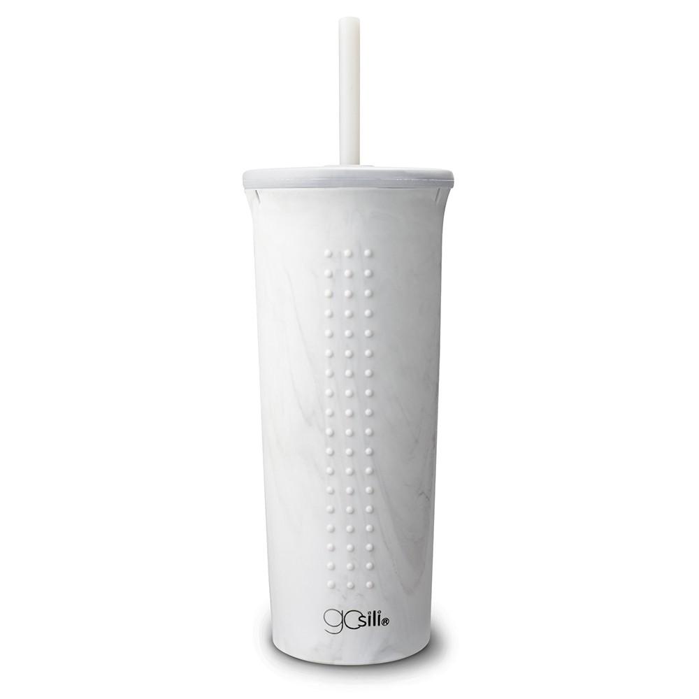 美國Gosili silikids【TOGO矽膠吸管隨行杯24oz】白色大理石 鉑金級矽膠咖啡杯 環保杯【台灣總代理】