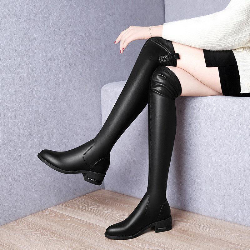 【現貨】【爆款】長靴女過膝顯瘦彈力靴秋冬新款高筒靴粗跟加絨中跟皮靴網紅騎士靴