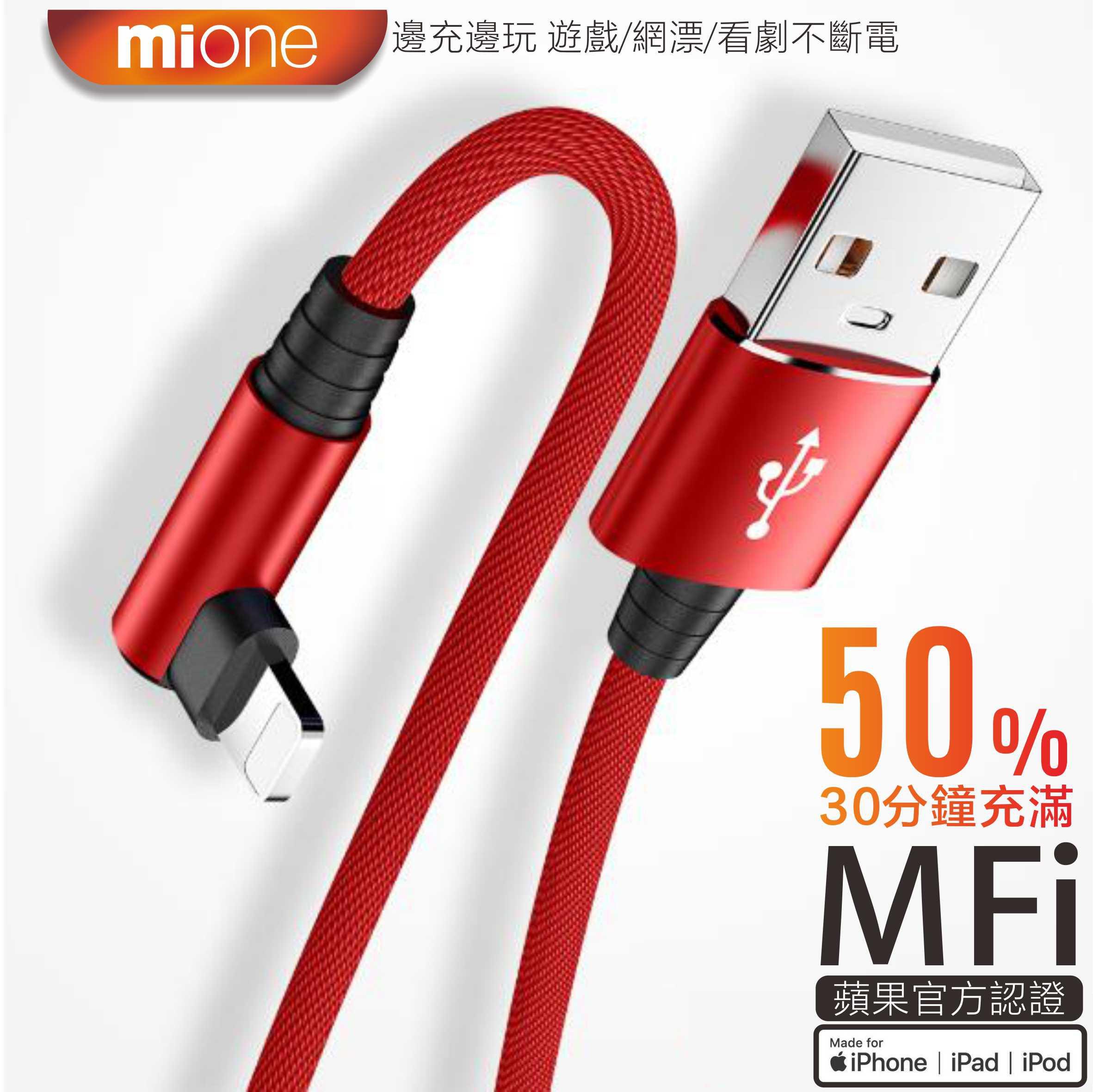 Mione MFI iPhone 充電線 彎頭充電線 lightning 快充線 遊戲 蘋果充電線 傳輸線 原廠 快充線
