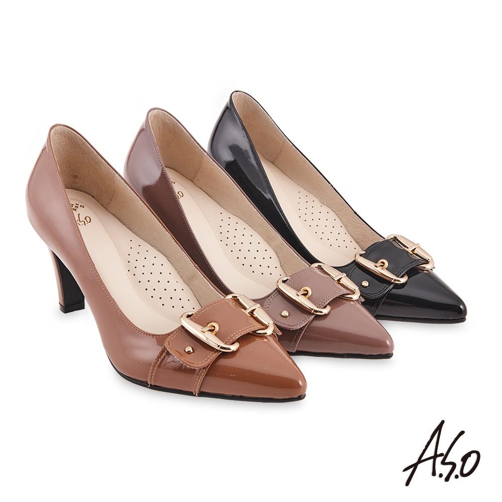 【A.S.O阿瘦】健步通勤氣質條帶飾扣漆皮高跟鞋-茶/淺紫/黑