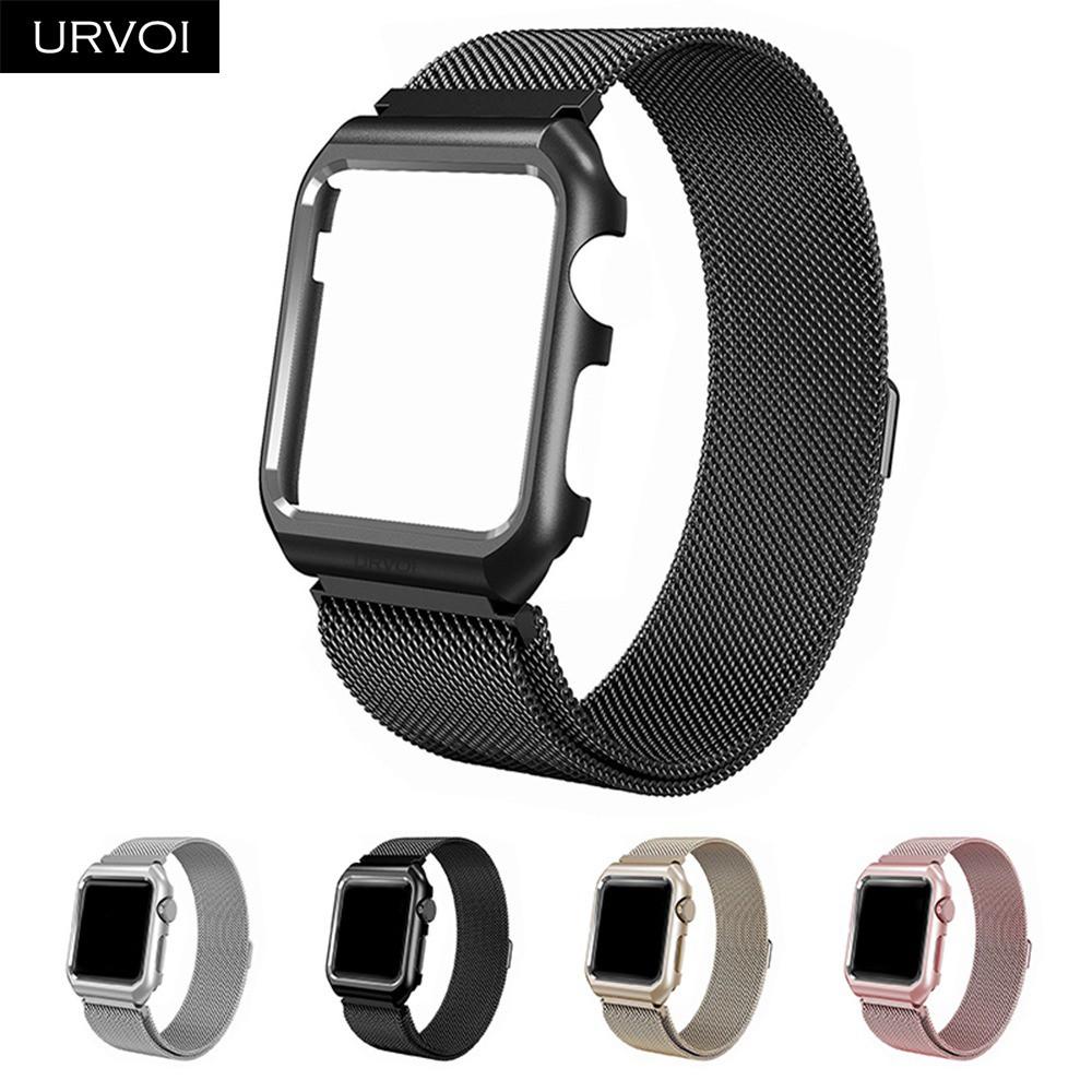 URVOI 適用於Apple Watch不銹鋼mianlese環形錶帶,適用於帶錶殼的iwatch錶帶