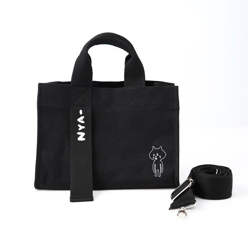 🌑全新🌑 Nya貓 黑色 厚磅 帆布袋 側背包