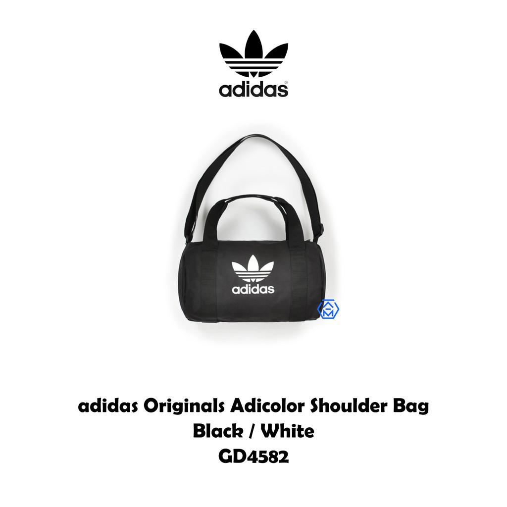 ADIDAS Originals 愛迪達 三葉草黑 白 手提圓筒包 旅行袋 運動登山 健身包GD4582 廠商直送 現貨